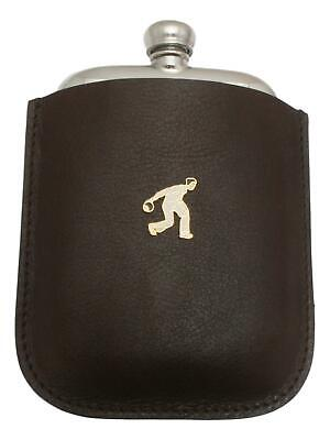 Bowls Male Enamel Pewter 4oz Hip Flask Leather Pouch FREE ENGRAVING 42