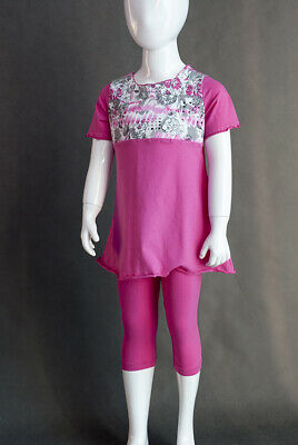 Baby Girl summer outfit  cropped leggings pants and tunic top pink Age 9 12 Mths