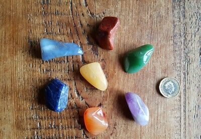 EXTRA LARGE 7 GEMSTONE CHAKRA HEALING SET With Bag, Huge 30-40mm Gemstones.