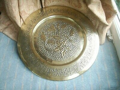 Old Antique Brass Hand Embossed Brass Tray Wall Plaque Moghul Indian Floral