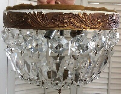 "Vintage Crystal Bag Basket Dome Chandelier, Flush Mount, 10"", 2 Lights, French?"
