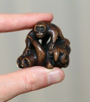 antique Japanese carved boxwood Netsuke of Monkeys, signed Masanao, 19th Century