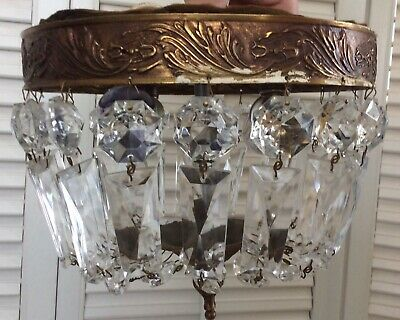 "Vintage Crystal Bag Basket Dome Chandelier, Flush Mount, 8"", 2 Lights, French?"