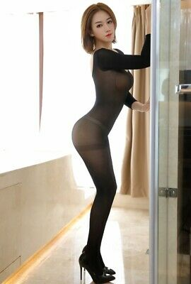 0c149f9718e Crotchless Sheer Black Bodystocking Catsuit Club Party Lingeries Stockings