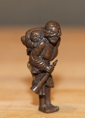 antique Japanese carved boxwood Netsuke of a foreigner signed Geneian, SUPERB!
