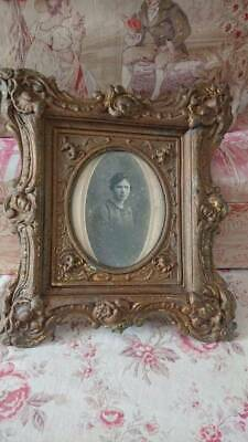 Superb Antique French Timeworn Repousse Tole Picture Photo Frame C1900