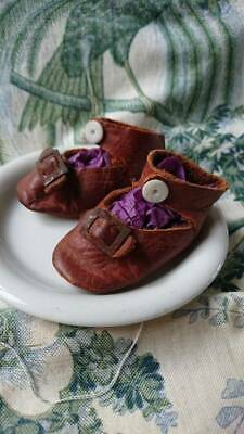 SWEET PAIR ANTIQUE FRENCH LEATHER DOLLS SHOES WITH BUCKLE c1900