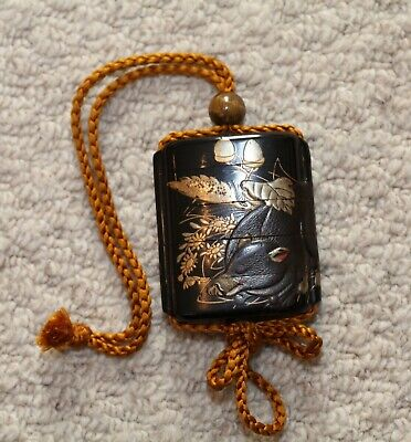 antique Japanese Lacquer Inro & Ojime showing a sleeping Boar, Edo Period, RARE