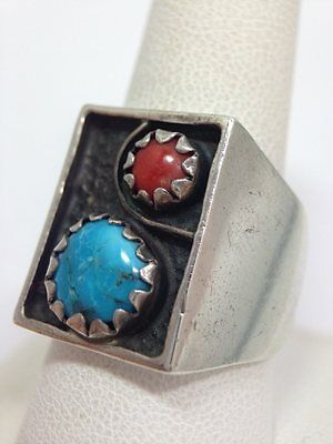 Vintage Mexican Turquoise Coral Shadowbox Ring Size 10 Sterling Silver