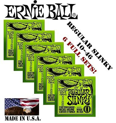 *6 SETS ERNIE BALL 2221 REGULAR SLINKY ELECTRIC GUITAR STRINGS 10-46 (2x3 PACK)*
