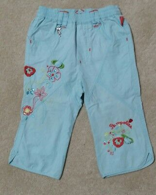 Pampolina Designer Girls Summer Trousers Turqouise Blue 80cm beaded embroidered
