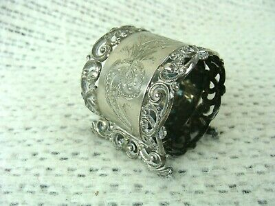 Antique Silver Plated Napkin Ring Holder Ornate with Base 1902 NICE