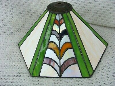 Vintage MISSION ART DECO STYLE STAINED LEADED GLASS LAMP SHADE SLAG