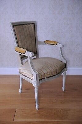 French painted Louis XV / Neoclassical boudoir armchair with gilt studs