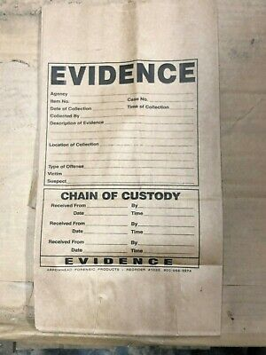 """(20) Evidence Bags Arrowhead Forensic 25# 1025 printed paper 8""""Wx15.5""""Hx5.25""""D"""