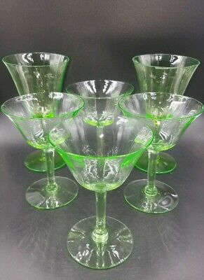 6 Rare Antique Tiffin 14196 Green Uranium Glass Optic 4 Tall Sherbet, 2 Goblets