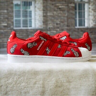 Adidas Superstar x Farm Pineapple Womens Red Suede Sneakers Shoes B28040 Size 7