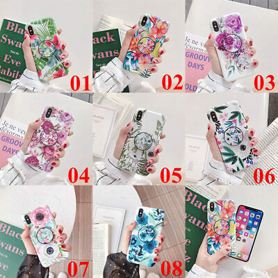 For iPhone XS Max XR 6s 7 8 Plus X Flower Leaf  Holder Stand Soft TPU Case Cover