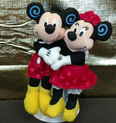 "Disney Mickey Mouse & Minnie Plush Hugging 6-8"" EUC Soft Stuffed Animal Plushie"