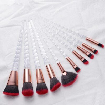 10pcs Unicorn Makeup Brushes Set Crystal Spiral Eye shadow Eyeliner Eyelash