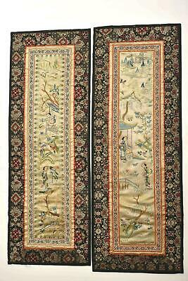 2 Early 20C Chinese Silk Embroidery Textile Panel Lady Figure Brocade Borders