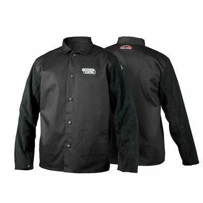 Lincoln Electric Black Leather Sleeved Welding Jacket Flame Retardant