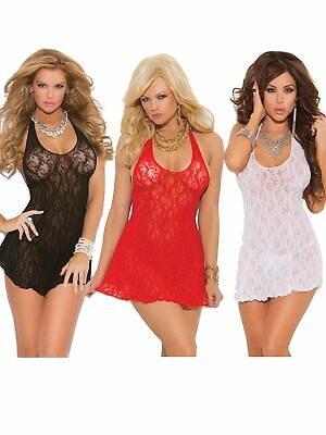 Womens Plus Size Floral Lace Sexy Halter Mini Dress Lingerie Top- Pack of 3