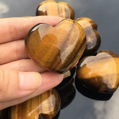 Crystal Carved Heart Shaped Healing Gemstone Palm Natural Stone Tiger's-Eye A0D6