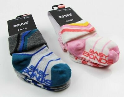 Bonds Baby Girl Boy Cotton Toddler Trainer 2 Pack Sport Socks Sockettes 00-4 Yrs