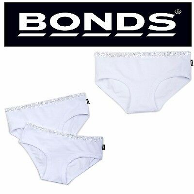Bonds Girls Girl 1 Or 2 Pack Hipster Boyleg Brief Briefs White Kids Underwear