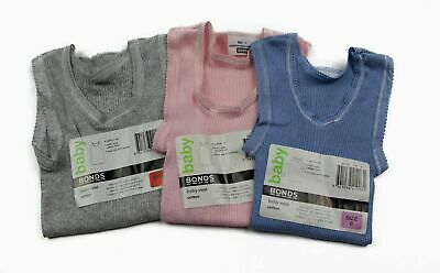 Bonds Baby Kids Girls Boys Cotton Singlet Singlets Underwear Blue Pink Grey Vest