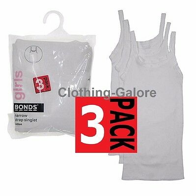 Bonds Girls 3 Pack Narrow Strap Teena Singlet Singlets Top Vest Vests Kids White