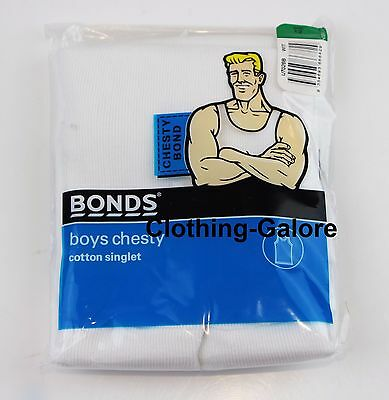 BONDS Boys White Chesty Singlet Cotton Ribbed Kids Vest Size 4 6 8 10 12 14 16