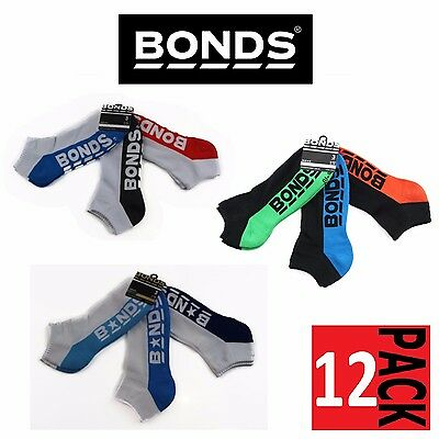 12 PAIRS Mens Bonds Low Cut Sports Ankle Gym Running Cushioned Socks Black White
