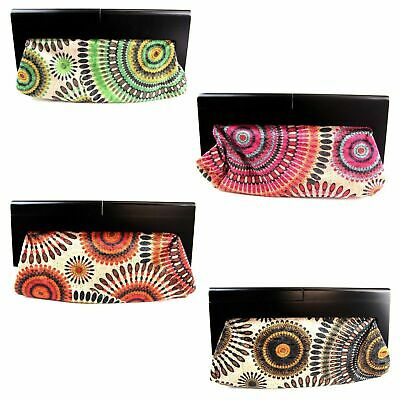 Colourful Clutch Bag Wooden Handle Hand Handbag Womens Ladies Black Pink Red