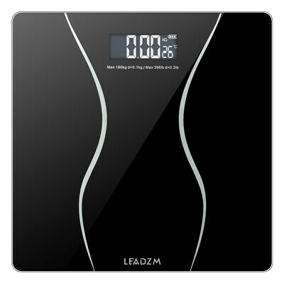 400lb/180KG Digital LCD Glass Bathroom Scale Body Weight Scales Black US CA
