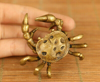 Antiques Chinese old bronze hand casting fortune crab statue netsuke decoration