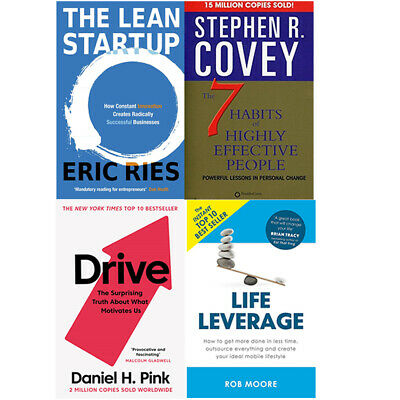 The Lean Startup,Drive,Life Leverage,7 Habits Of Highly 4 Books Collection Set