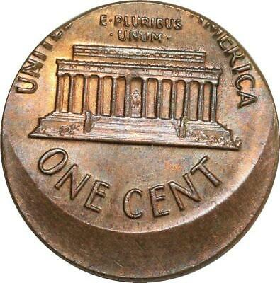 O8025 Scarce USA Lincoln Cent One Penny 1972 D Off Center Error Missing UNC