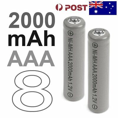 8 AAA Rechargeable Battery LR03 Ni-MH 2000mAh 1.2v (AU Stock) F111