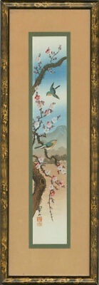 Set of Two Early 20th Century Japanese Watercolours - Cherry Blossom Birds