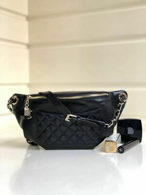 4de3deace716 Authentic CHANEL Crumpled Glazed Lambskin Quilted Waist Bag Fanny Pack Black