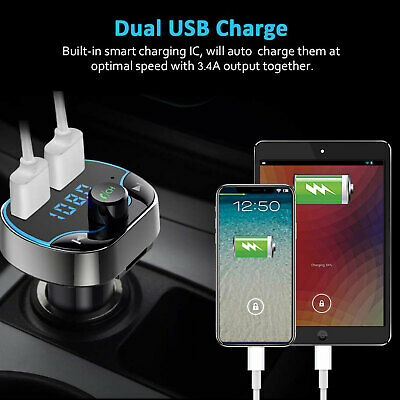 Bluetooth FM Transmitter Wireless Radio Adapter Receiver Car Dual USB Charger