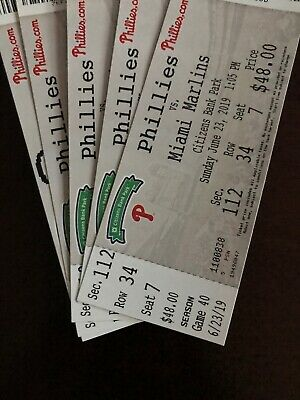 Phillies Vs Marlins Tickets - 4 Lower Level Tix With Preferred Parking Pass