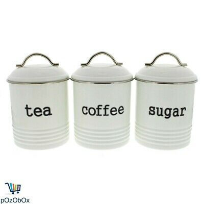 3 White Canisters Tea Coffee Sugar Food Container Kitchen Storage Steel Metal