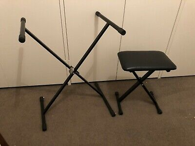 Keyboard Piano Stool Portable Folding Table and Chair - Black