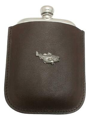 Cod Fish Pewter 4oz Kidney Hip Flask In Leather Pouch FREE ENGRAVING 79