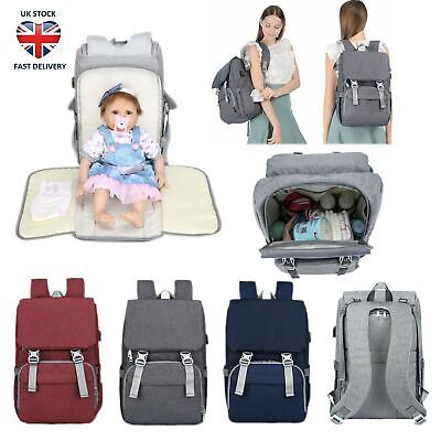 2 IN 1 Baby Nappies Bag Mummy Changing Backpack Maternity Rucksack With USB Port