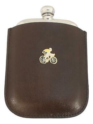 Cyclist Enamel Pewter 4oz Kidney Hip Flask In Leather Pouch FREE ENGRAVING 96