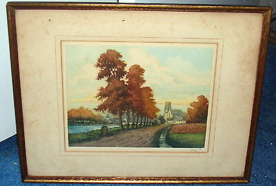 19th or Early 20th Century Hand Colored Landscape Etching,  Pencil Signed LEROY